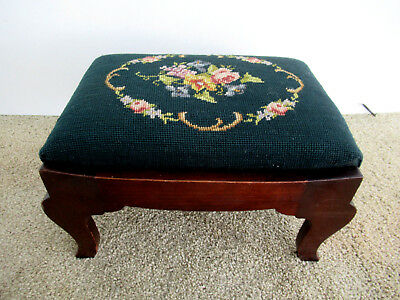 """Vintage Foot Stool Needlepoint Top Footstool Bench 15"""" x 10"""", Four Arched Legs"""