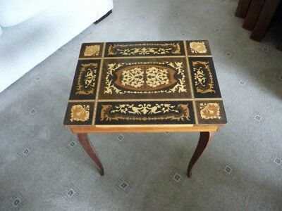 Old Inlaid Wood Sewing Box/table With Music On Opening