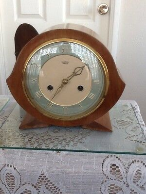 Smiths Art Deco 8 day chiming Mantle Clock in working order