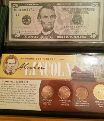 $5 Dollar Bill US Coin & Currency Lincoln Set in Littleton Cover. Awesome RARE!