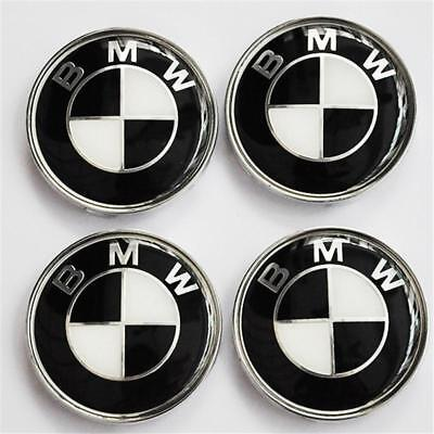 4Pcs For BMW Wheel Center Caps Hub Hubcap Rim Emblem Logo Badge 68MM Black E21