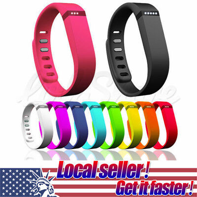 US New Soft Silicone Band Watch Wrist Strap With Clasps For Fitbit Flex S / L xi