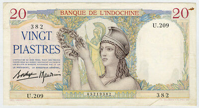 FRENCH INDO-CHINA 1936-39 ISSUE 20 PIASTRES CRISP NOTE VF-XF.PICK#56b.