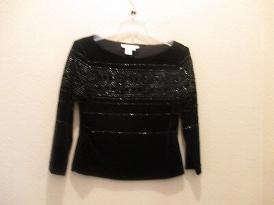 ADRIANNA PAPELL  EVENING Black Silk Beaded Short Sleeve Occasion Blouse Womens S