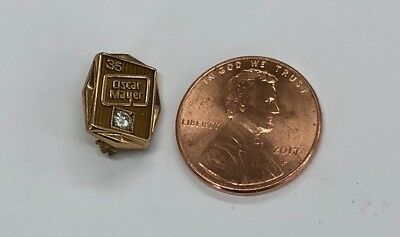Vintage Oscar Meyer Employee 35 Year Solid 10k Gold & Diamond Pin Scrap Or Not!!