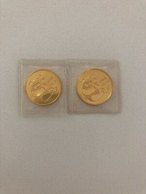 LOT of 2 Sealed 1982 1/2 oz Gold China Panda Coins 1oz Total Coin Auction Deal
