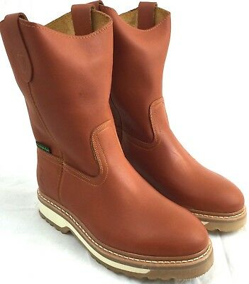 Men's Work Boots Genuine Leather Honey Color Western Cowboy Pull On Botas