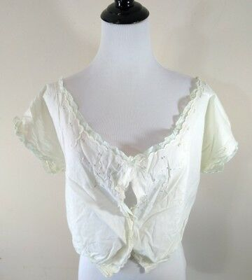 Antique Edwardian Victorian Embroidered Eyelet Lace Trim Corset Cover Camisole