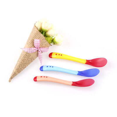 1Heat Sensing Thermal Feeding Spoon Baby Kids Weaning Silicone Head TablewareH5W