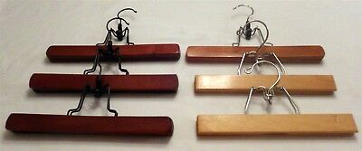 "Lot of 6 Vtg Wood Clothes Hangers for Pants Slacks Skirts 10"" to 11"" Exec Cond"