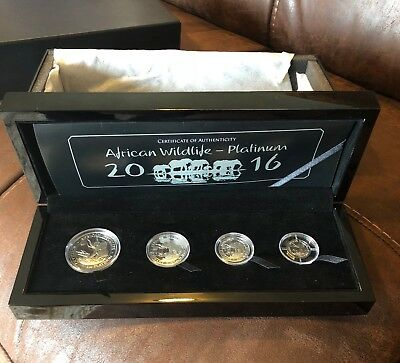2016 Somalia 4-Coin Platinum Elephant Proof Set - 100 Mintage - .99 Cent No Res!