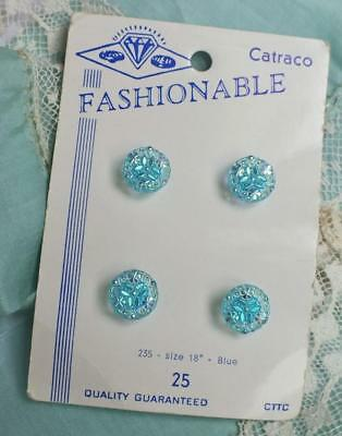 FOUR 4 VINTAGE Iridescent SHAMROCK Crystal BLUE Button CARD Fashionable Catraco