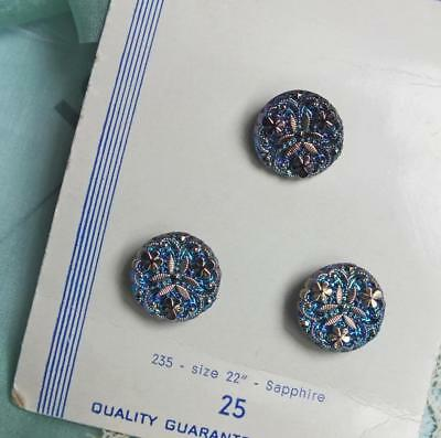 Rare TRIO 3 VINTAGE Sapphire PEACOCK Iridescent SHAMROCK Crystal Button on CARD