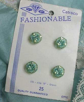 FOUR 4 VINTAGE Iridescent SHAMROCK Crystal GREEN Button CARD Fashionable Catraco