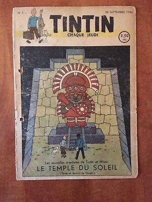 Journal Tintin Belge N°1 1946 - Be - Couv. Hergé Tintin - Jacobs, Cuvelier, Etc.