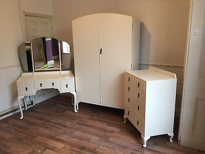 Mahogany chest of four drawers refurbished in New White