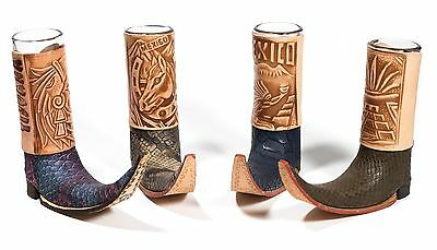 3 Pack Mexican Leather Mini Boot Tequila Shot - Original Artisan Assorted Colors