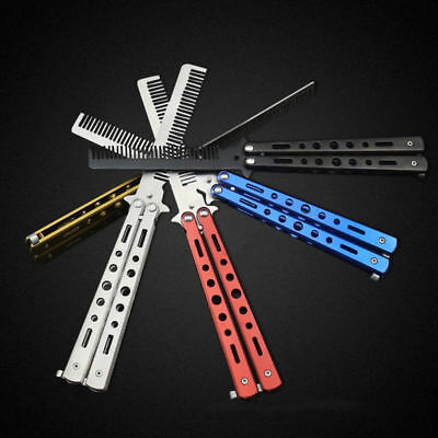 Stainless Steel Butterfly Balisong Comb Trainer Training Knife Dull Tool Black