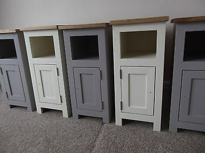 Pair Solid Oak with Choice of Cream or Grey Narrow Bedside Pot Cupboards 27cm w'