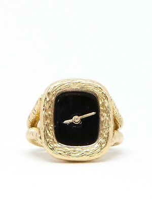 Swiss 18k Yellow Gold Ring Watch with Onyx Dial (22387)