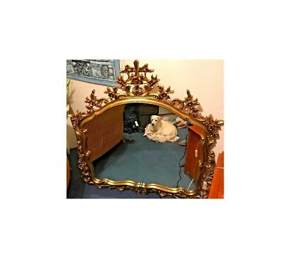 Stunning Vintage Italian Large wall Silik Mirror Wood Carved gold color antique