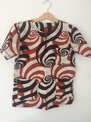 Vintage Kids 80s 90s African Folk Festival Tribal Ethnic Abstract Shirt 7 8 9 Y