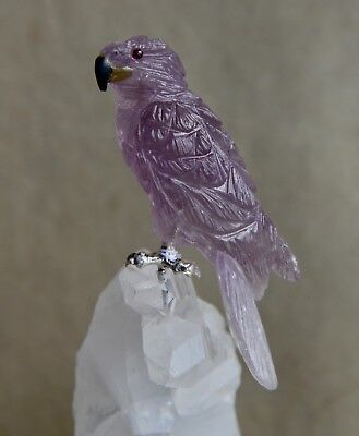 "Amethyst Hawk on Quartz Crystal 6 1/2"" -Peter Muller"