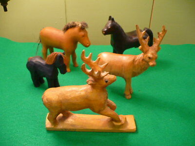Hand Carved Wood Animals , Horses , Reindeer