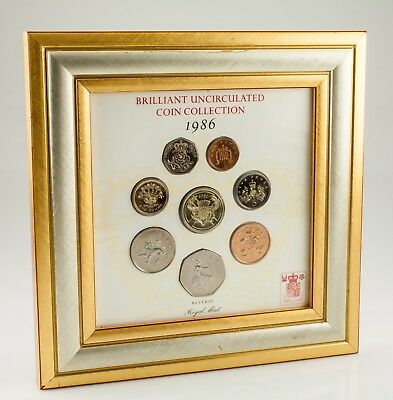 1986 Great Britain Brilliant Uncirculated Coin Collection Set in Frame