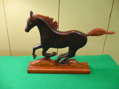 Vintage Wooden Hand Carved Running  Horse 12""