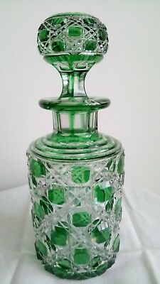 """Baccarat 7.4"""" Green Cut To Clear Cologne Bottle Crystal Decanter Signed Antique"""