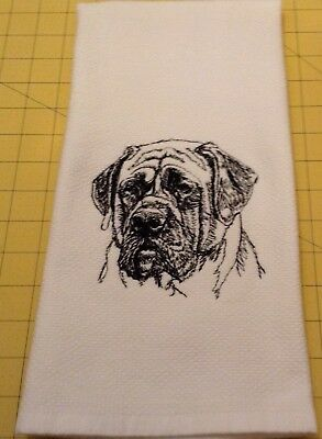 ENGLISH MASTIFF SKETCH! Embroidered Williams Sonoma Kitchen Hand Towel