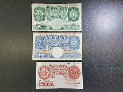 Lot of 3 Great Britain UK 1930s Banknotes 1 Pound w/Rare 10 Shillings  #30