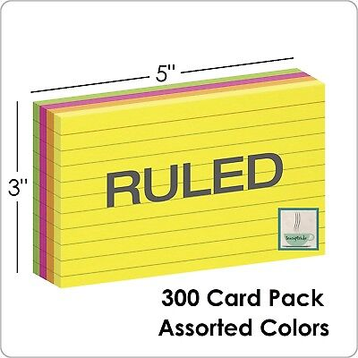 300 Ct Pack Oxford Neon Index Cards Ruled 3 x 5 Inch Assorted Colors