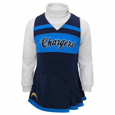 Toddler Girls Los Angeles Chargers Cheerleader Cheer 2 Pc Outfit Dress NFL