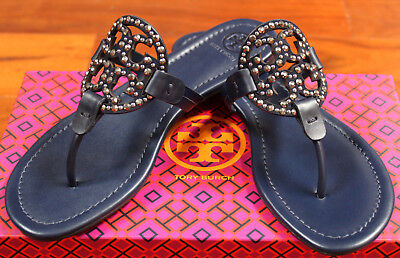 09d25bae8c7 NIB Tory Burch Miller Embellished Crystal Stud Leather Sandal Navy Blue 8.5   228