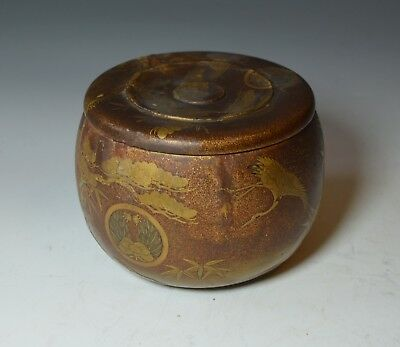 Fine antique Japanese gilt decorated lacquer Japanese box Meiji