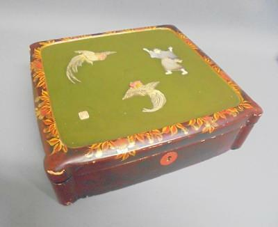 Antique Japanese 芝山町 SHIBAYAMA Hand Carved BOX with MOP & Signature Hanko