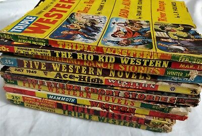 Lot of 10 - Vintage Pulp Western Magazines Novels - Ace High, Triple, Ranch, Rio