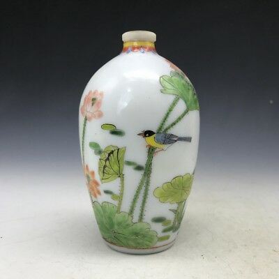 The ancient Chinese glass vase pure manual pattern of flowers and birds painting