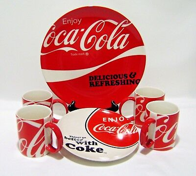 Coca Cola Plate Mug Lot 6 pc Set Advertising Dinnerware Ceramic Red White Coke & COCA COLA DINNERWARE Plate Bowl Salt Pepper Shakers Dishes Gibson ...