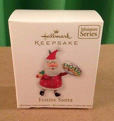 Festive Santa, (with cookies), Hallmark Miniature Ornament, 2011, New In Box
