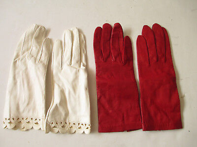 2 NEW sets of red and white vintage leather women's gloves, small, Italy size 7
