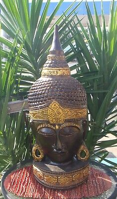 BALINESE BUDDHA HAND CARVED WOODEN INTRICATE  FENG SHUI DESIGN 75cm H