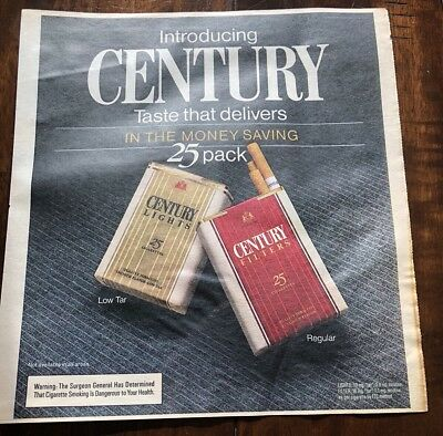 Vintage 1983 Century Cigarette Ad With Lego Ad On Back