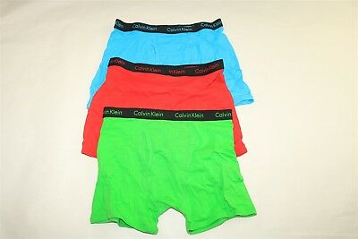 LOT OF 3 PAIRS CALVIN KLEIN COTTON STRETCH BOXER BRIEFS Green Red Blue XL 14-16