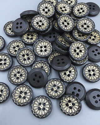 100PCS Black Flowers Round Wooden buttons sewing decoration craft scrapbook 15mm