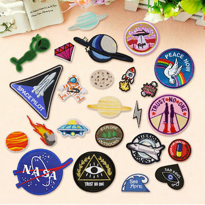 Outer Space Planet Embroidery Sew On Iron On Patch Badge Fabric Applique Craft