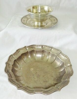 2x US Sterling Silver Deep Dish & Sauce Bowl by Wallace & Frank Smith (***)