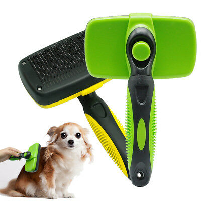 Dog Self Cleaning Slicker Brush Pets Cats Grooming Comb Shedding Clean Tool Hair